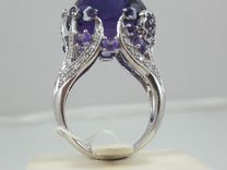 Золотое кольцо 750 проба с бриллиантами и аметист