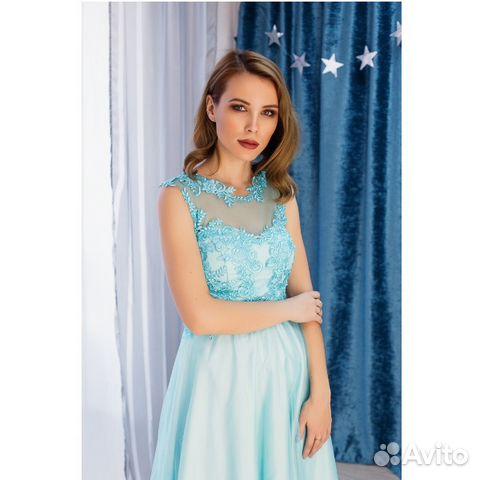 66c917c588d Бальное бирюзовое платье с атласной юбкой купить в Москве на Avito ...