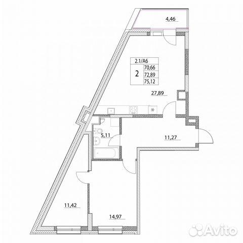 Продается двухкомнатная квартира за 16 608 000 рублей. Лазоревый пр., 3.