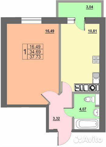1-к квартира, 37.8 м², 8/10 эт. 84812777000 купить 2