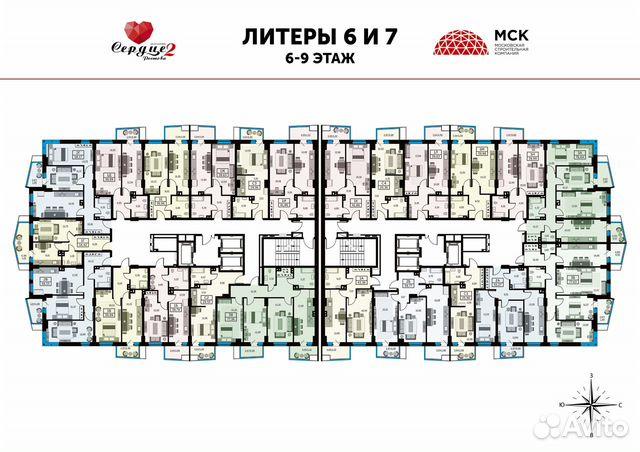1-к квартира, 39.2 м², 23/25 эт. купить 6