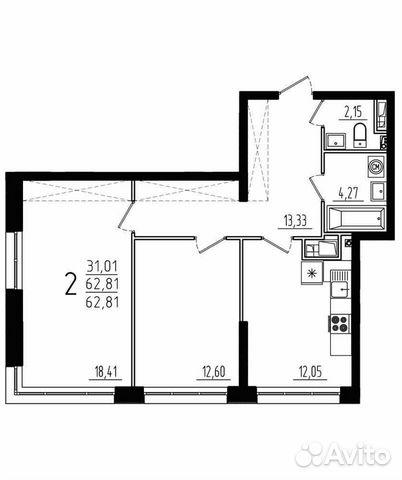 2-к квартира, 62.8 м², 3/9 эт.  88412645458 купить 3