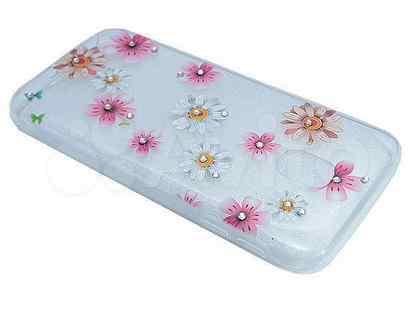 Чехол-накладка для Samsung J730 fashion TPU стразы Полевые цветы вид 5