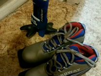 Лыжи,палки, ботинкт